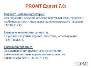 PROMT Expert 7.0: Портрет целевой аудитории: Для обработки больших объемов текст