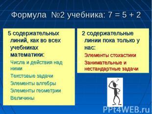 12 Формула 2 учебника: 7 = 5 + 2 5 содержательных линий, как во всех учебниках м