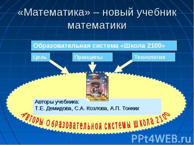 2 «Математика» – новый учебник математики Образовательная система «Школа 2100» ЦельПринципыТехнология Авторы учебника: Т.Е. Демидова, С.А. Козлова, А.П. Тонких