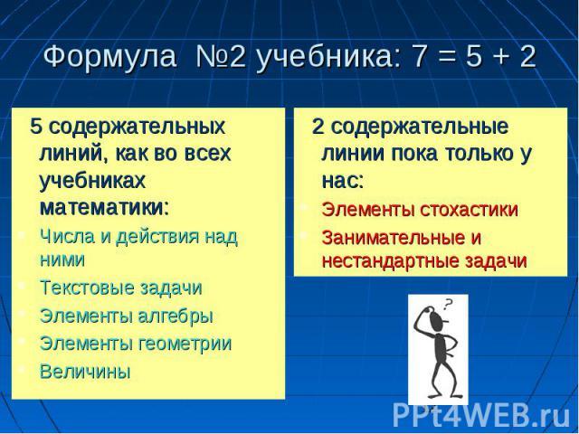 12 Формула 2 учебника: 7 = 5 + 2 5 содержательных линий, как во всех учебниках математики: 5 содержательных линий, как во всех учебниках математики: Числа и действия над ними Числа и действия над ними Текстовые задачи Текстовые задачи Элементы алгеб…