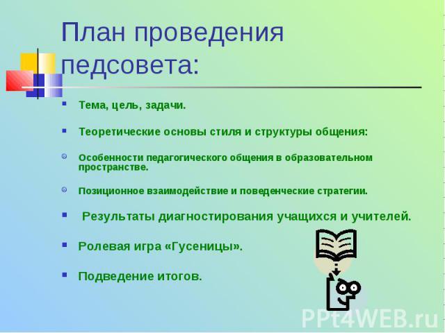План проведения педсовета: Тема, цель, задачи. Теоретические основы стиля и структуры общения: Особенности педагогического общения в образовательном пространстве. Позиционное взаимодействие и поведенческие стратегии. Результаты диагностирования учащ…