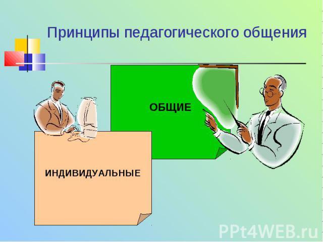 Принципы педагогического общения ОБЩИЕ ИНДИВИДУАЛЬНЫЕ