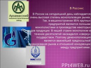 В России на сегодняшний день наблюдается очень высокая степень монополизации рын