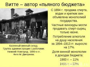 Витте – автор «пьяного бюджета» С 1894 г. продажа спирта, водки и крепких вин об