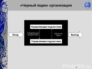 6 «Черный ящик» организации Управляющая подсистема Управляемая подсистема ВходВы