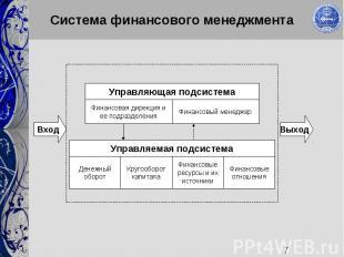 7 Система финансового менеджмента Денежный оборот Кругооборот капитала Финансовы