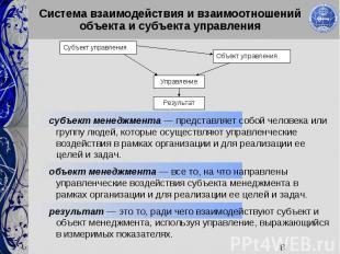 8 Система взаимодействия и взаимоотношений объекта и субъекта управления Объект