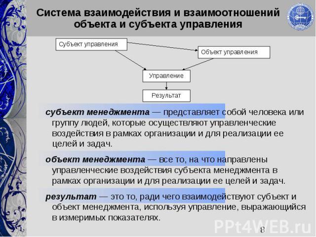 8 Система взаимодействия и взаимоотношений объекта и субъекта управления Объект управления Субъект управления Управление Результат субъект менеджмента представляет собой человека или группу людей, которые осуществляют управленческие воздействия в ра…