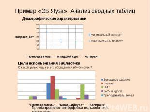 Пример «ЭБ Яуза». Анализ сводных таблиц 31 Демографические характеристики Цели и
