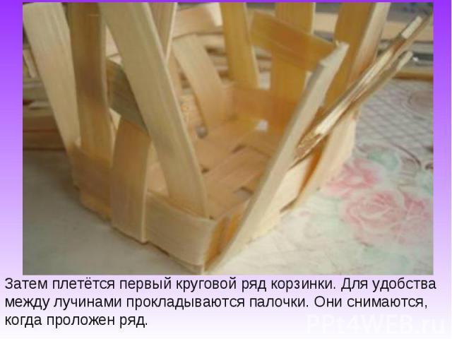 Затем плетётся первый круговой ряд корзинки. Для удобства между лучинами прокладываются палочки. Они снимаются, когда проложен ряд.