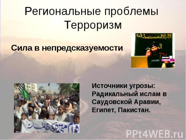 Региональные проблемы Терроризм Сила в непредсказуемости Источники угрозы: Радикальный ислам в Саудовской Аравии, Египет, Пакистан.