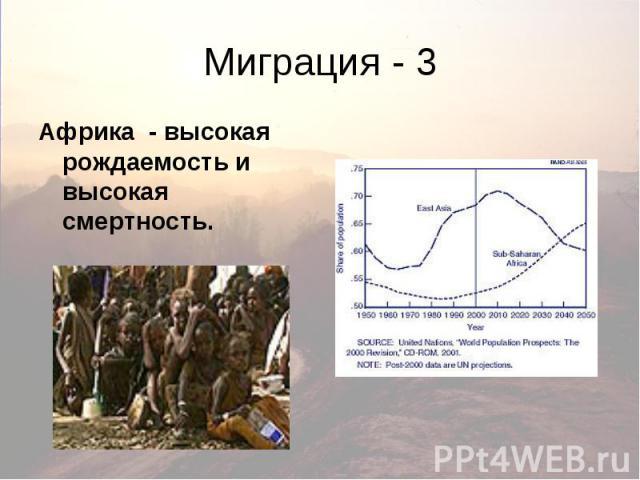 Миграция - 3 Африка - высокая рождаемость и высокая смертность.
