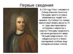Первые сведения В 1720 году Петр I направил в Сибирь Василия Никитича Татищева,