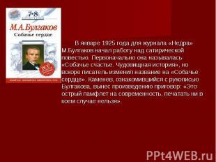 В январе 1925 года для журнала «Недра» М.Булгаков начал работу над сатирической