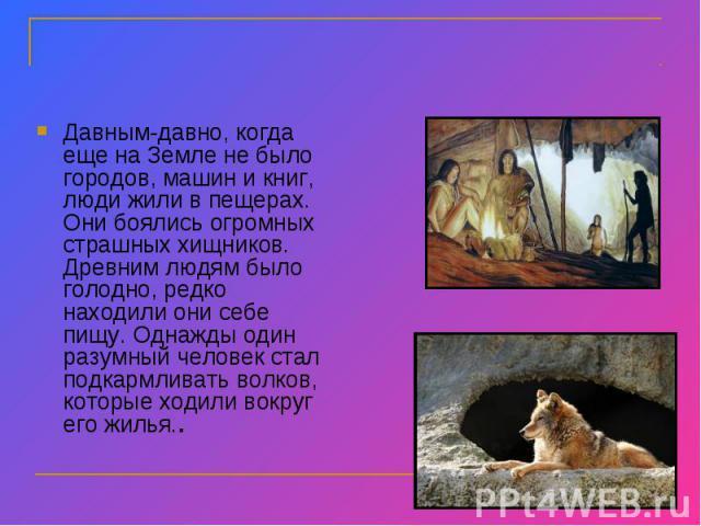 Давным-давно, когда еще на Земле не было городов, машин и книг, люди жили в пещерах. Они боялись огромных страшных хищников. Древним людям было голодно, редко находили они себе пищу. Однажды один разумный человек стал подкармливать волков, которые х…