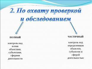 ПОЛНЫЙ контроль над всеми объектами, субъектами, сферами деятельности ЧАСТИЧНЫЙ
