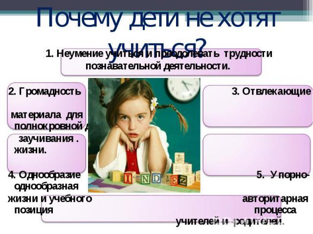 Почему дети не хотят учиться? 1. Неумение учиться и преодолевать трудности познавательной деятельности. 2. Громадность 3. Отвлекающие факторы материала для полнокровной детской заучивания. жизни. 4. Однообразие 5. Упорно-однообразная жизни и учебног…