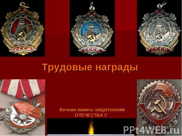 Вечная память защитникам ОТЕЧЕСТВА !! Трудовые награды
