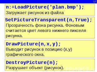 n:=LoadPicture('plan.bmp');Загружает рисунок из файла SetPictureTransparent(n,Tr