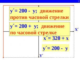 y´= 200 - y; движение против часовой стрелкиy´= 200 + y; движение по часовой стр