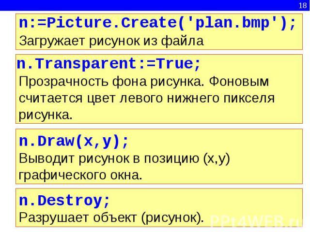 n:=Picture.Create('plan.bmp');Загружает рисунок из файла n.Transparent:=True;Прозрачность фона рисунка. Фоновым считается цвет левого нижнего пикселя рисунка.n.Draw(x,y);Выводит рисунок в позицию (x,y) графического окна.n.Destroy;Разрушает объект (р…