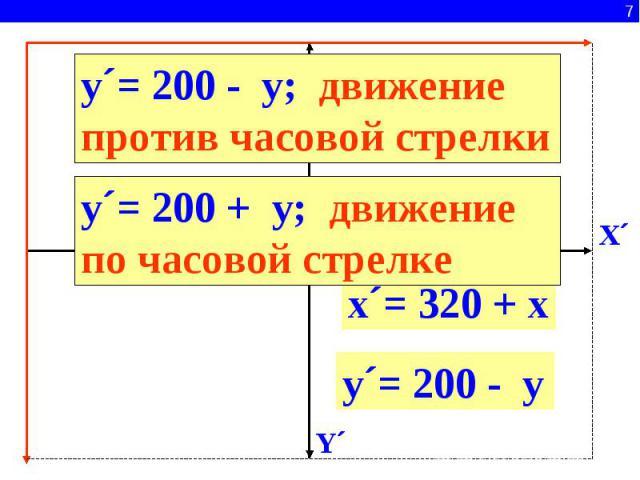 y´= 200 - y; движение против часовой стрелкиy´= 200 + y; движение по часовой стрелкеx´= 320 + xy´= 200 - y