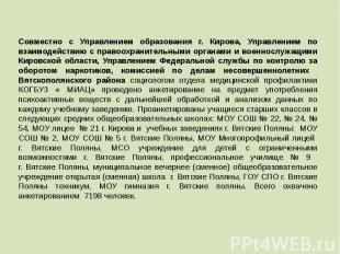Совместно с Управлением образования г. Кирова, Управлением по взаимодействию с п