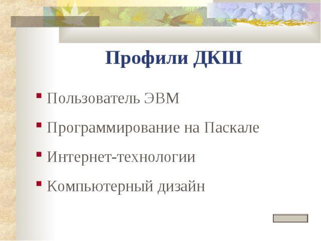Профили ДКШ Пользователь ЭВМ Программирование на Паскале Интернет-технологии Компьютерный дизайн