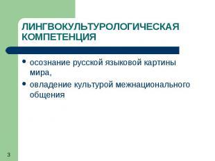 3 ЛИНГВОКУЛЬТУРОЛОГИЧЕСКАЯ КОМПЕТЕНЦИЯ осознание русской языковой картины мира,