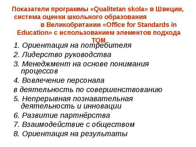Показатели программы «Qualitetan skola» в Швеции, система оценки школьного образования в Великобритании «Office for Standards in Education» с использованием элементов подхода TQM 1. Ориентация на потребителя 2. Лидерство руководства 3. Менеджмент на…