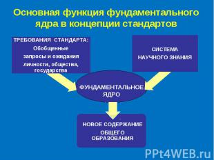 Основная функция фундаментального ядра в концепции стандартов ФУНДАМЕНТАЛЬНОЕ ЯД