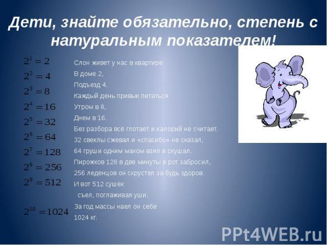 Дети, знайте обязательно, степень с натуральным показателем! Слон живет у нас в квартире В доме 2, Подъезд 4. Каждый день привык питаться Утром в 8, Днем в 16. Без разбора всё глотает и калорий не считает. 32 свеклы сжевал и «спасибо» не сказал, 64 …