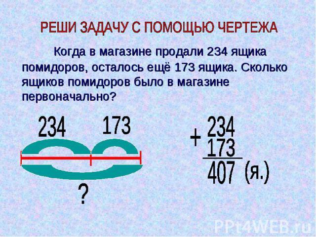 Когда в магазине продали 234 ящика помидоров, осталось ещё 173 ящика. Сколько ящиков помидоров было в магазине первоначально?