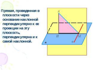 Прямая, проведенная в плоскости через основание наклонной перпендикулярно к ее п