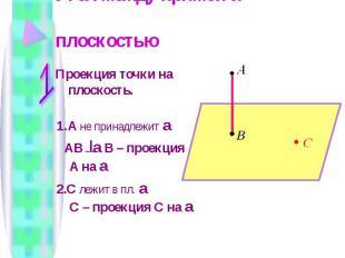 Угол между прямой и плоскостью Проекция точки на плоскость. 1. A не принадлежит