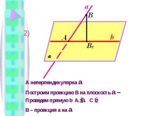 А неперпендикулярна a Построим проекцию В на плоскость a – Проведем прямую b A 1