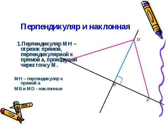 Перпендикуляр и наклонная 1.Перпендикуляр МН – отрезок прямой, перпендикулярной к прямой a, проходящей через точку М. MН – перпендикуляр к прямой a МВ и MD - наклонные