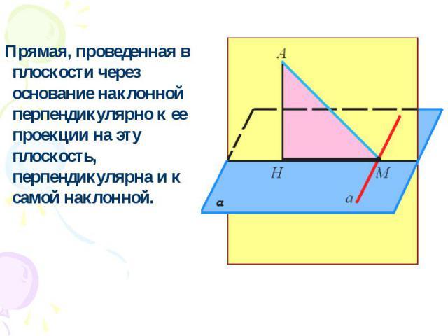 Прямая, проведенная в плоскости через основание наклонной перпендикулярно к ее проекции на эту плоскость, перпендикулярна и к самой наклонной.