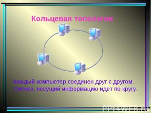 Кольцевая топология Каждый компьютер соединен друг с другом. Сигнал, несущий инф