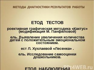 МЕТОД ТЕСТОВ Проективная графическая методика «Кактус» (модификация М. Панфилово