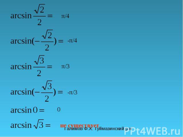 Галимов Ф.Х. Туймазинский р-н π/4 -π/4 π/3 -π/3 0 не существует