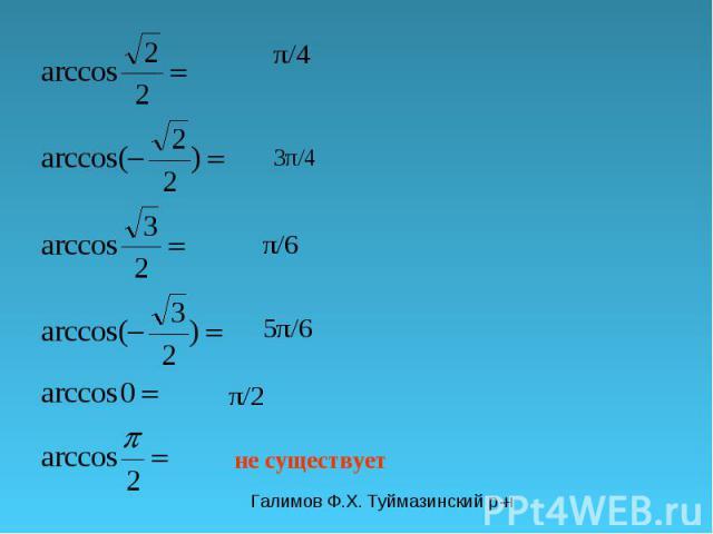 Галимов Ф.Х. Туймазинский р-н π/4 3π/4 π/6 5π/6 не существует π/2