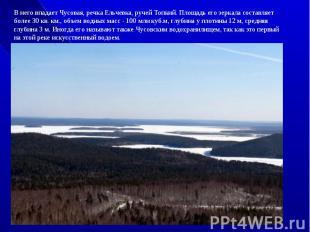 В него впадает Чусовая, речка Ельчевка, ручей Топкий. Площадь его зеркала состав
