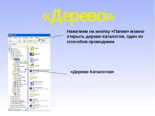 «Дерево» Нажатием на кнопку «Папки» можно открыть дерево каталогов, один из спос