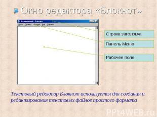 Строка заголовка Панель Меню Текстовый редактор Блокнот используется для создани