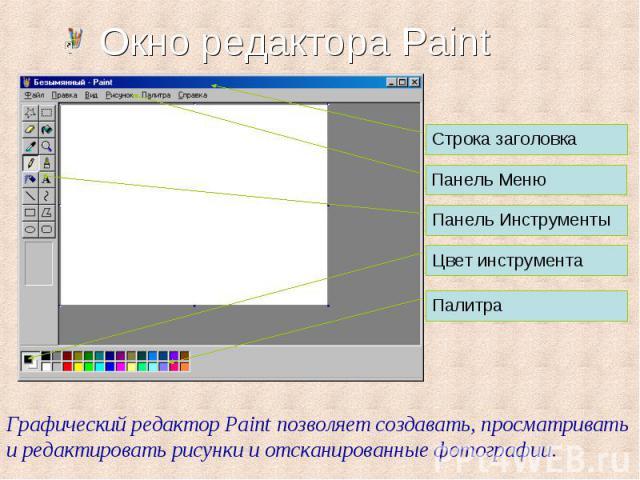 Строка заголовка Панель Меню Панель Инструменты Цвет инструмента Палитра Графический редактор Paint позволяет создавать, просматривать и редактировать рисунки и отсканированные фотографии.