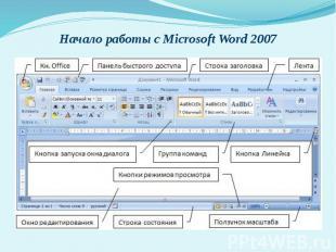 Начало работы с Microsoft Word 2007
