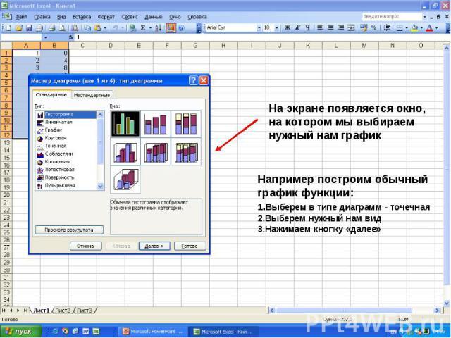 На экране появляется окно, на котором мы выбираем нужный нам график Например построим обычный график функции: 1. Выберем в типе диаграмм - точечная 2.Выберем нужный нам вид 3.Нажимаем кнопку «далее»