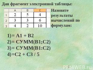 3 Дан фрагмент электронной таблицы: Назовите результаты вычислений по формулам: