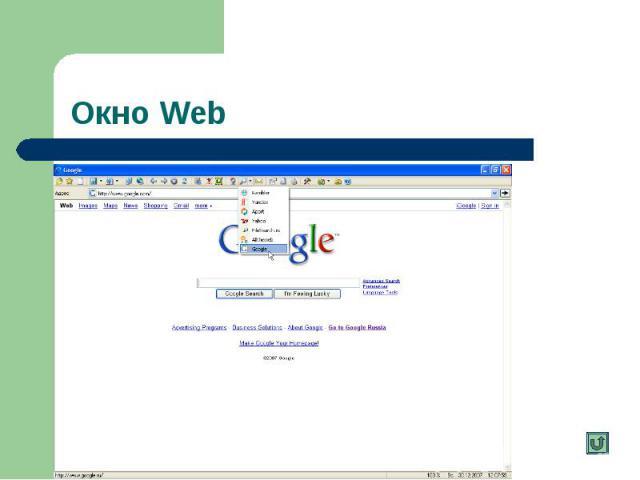 Окно Web